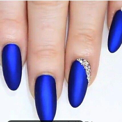 Azul Electrico Con Mate Uñas Azules Diseños D Uñas Y Uñas
