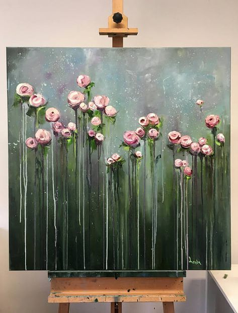 Original Oil Painting on canvas Title Creamy Flowers Size