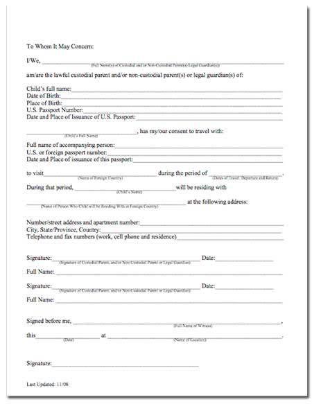 Child Travel Consent Form Template Free Permission Minor | Home