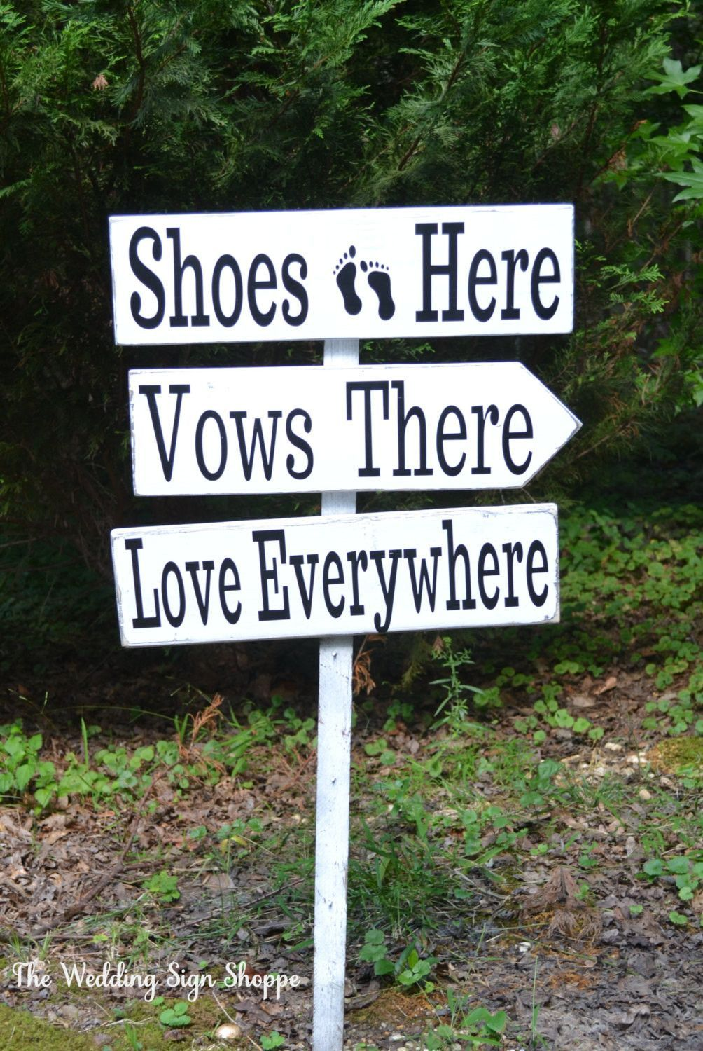 beach wedding sign large directional shoes here vows there love rustic wood arrows outdoor stake