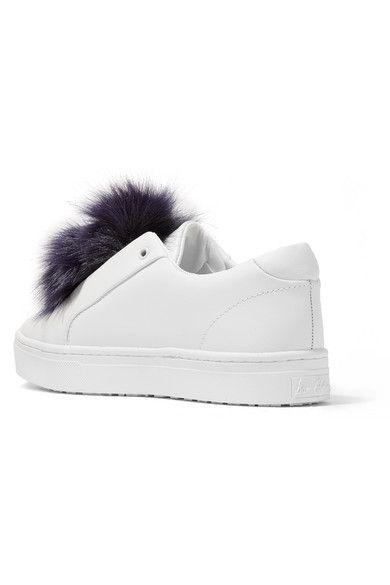 b63273da2eb1d4 Sam Edelman - Leya Faux Fur-trimmed Leather Slip-on Sneakers - White ...