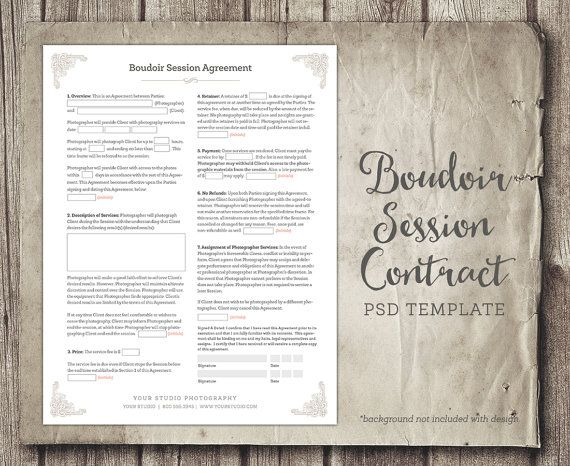 boudoir session client agreement form template business form photographer contract agreement i