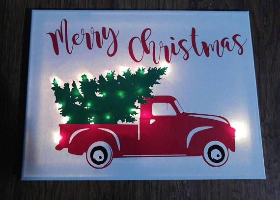 Items similar to Christmas Truck Lighted Sign - Christmas - rustic truck - lighted canvas on Etsy