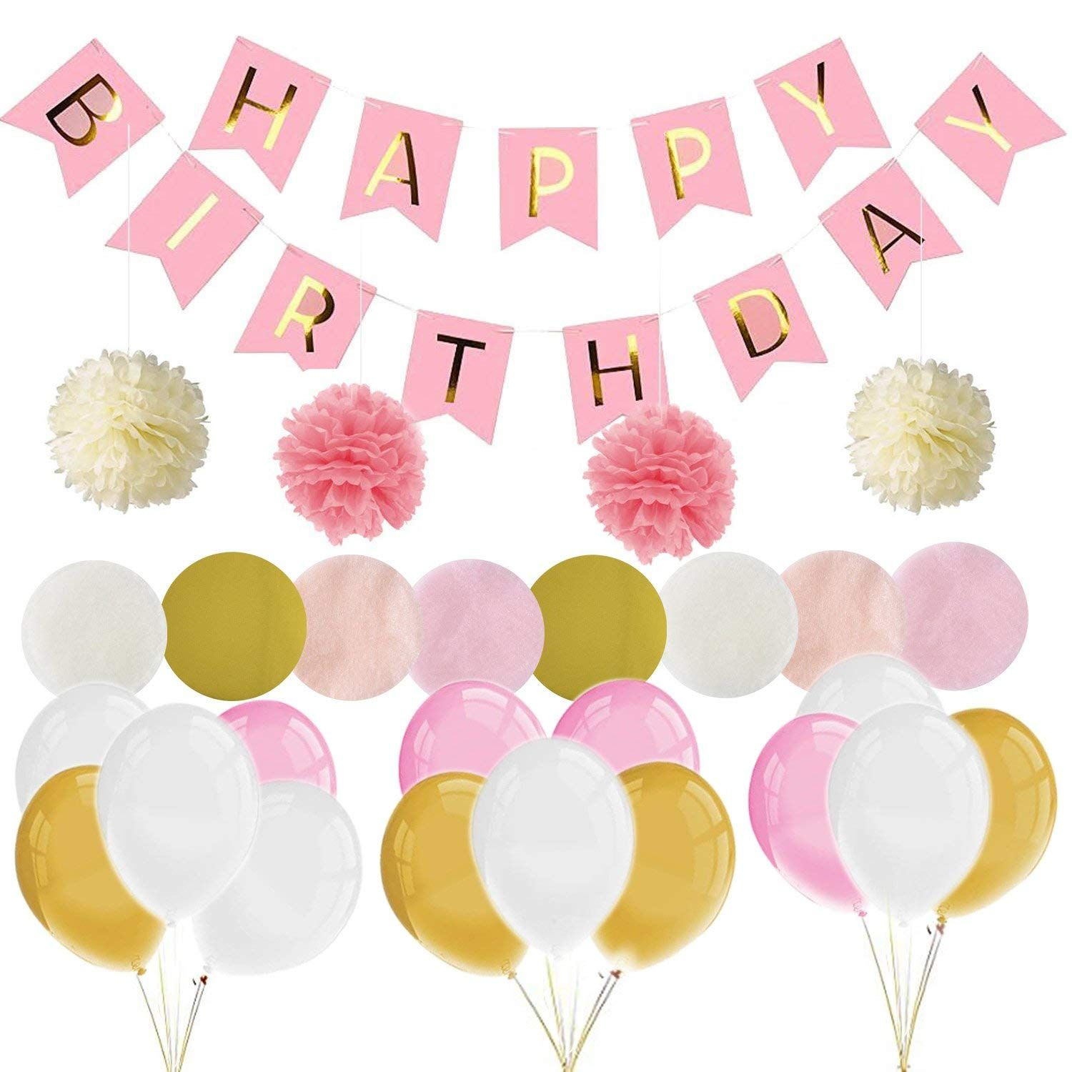 Party Decoration Balloons Happy Birthday Party Supplies Bunting Banner Tissue Pa Birthday Party Decorations Kids Birthday Supplies Blue Baby Shower Decorations