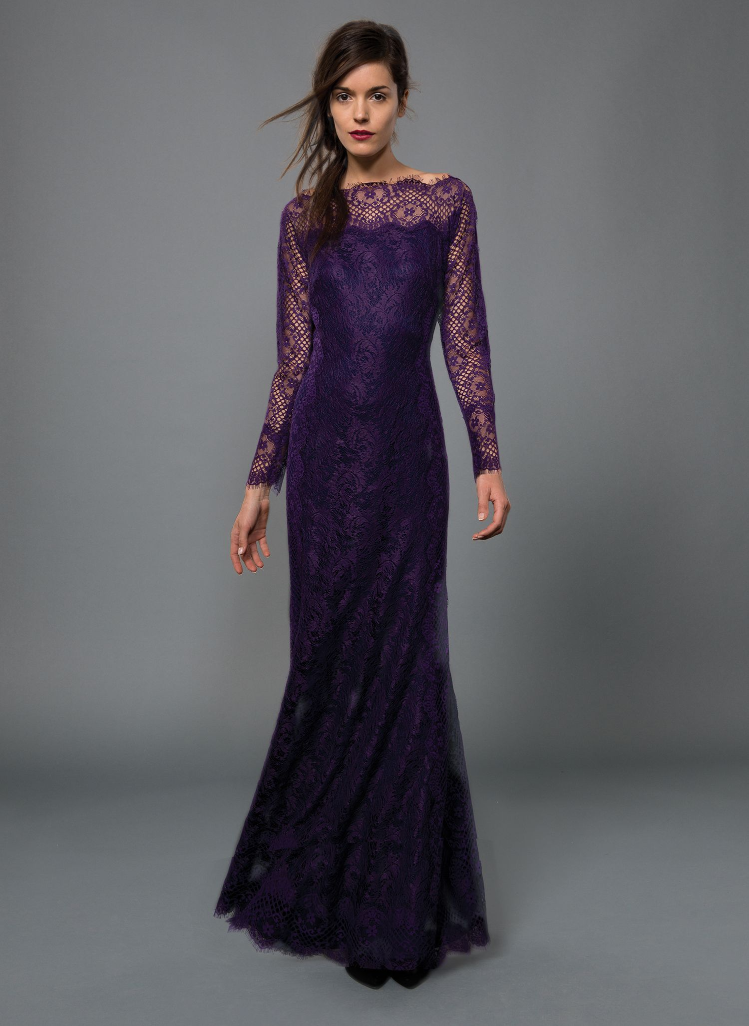 Chantilly lace long sleeve scallop neckline gown in deep amethyst