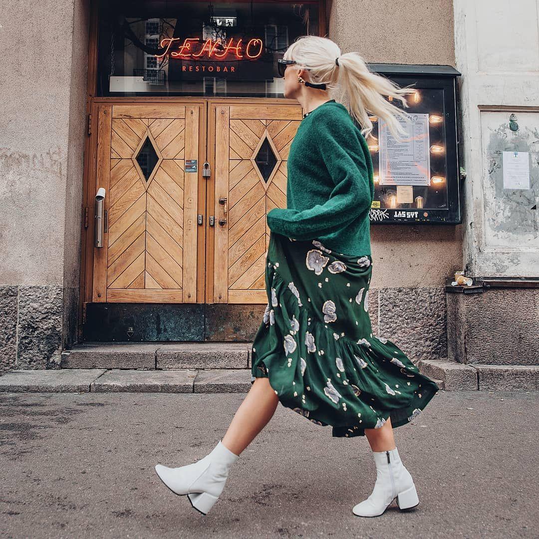Shopupp Green Jumper Print Maxi Skirt White Boots Outfit Green Maxi Skirt Green Maxi Skirt Outfit Maxi Skirt Outfits [ 1080 x 1080 Pixel ]
