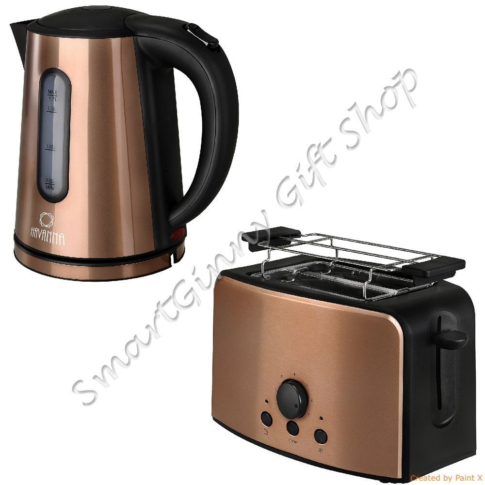 tkg design copper set 1.7l kettle & 2 slice toaster with toast