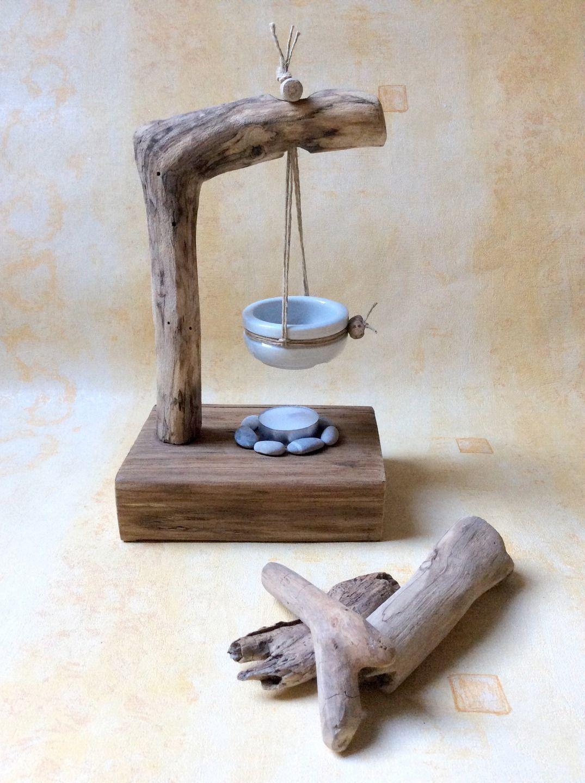 Br le parfum c ramique et bois flott par l 39 atelier de for Ou acheter des galets blancs