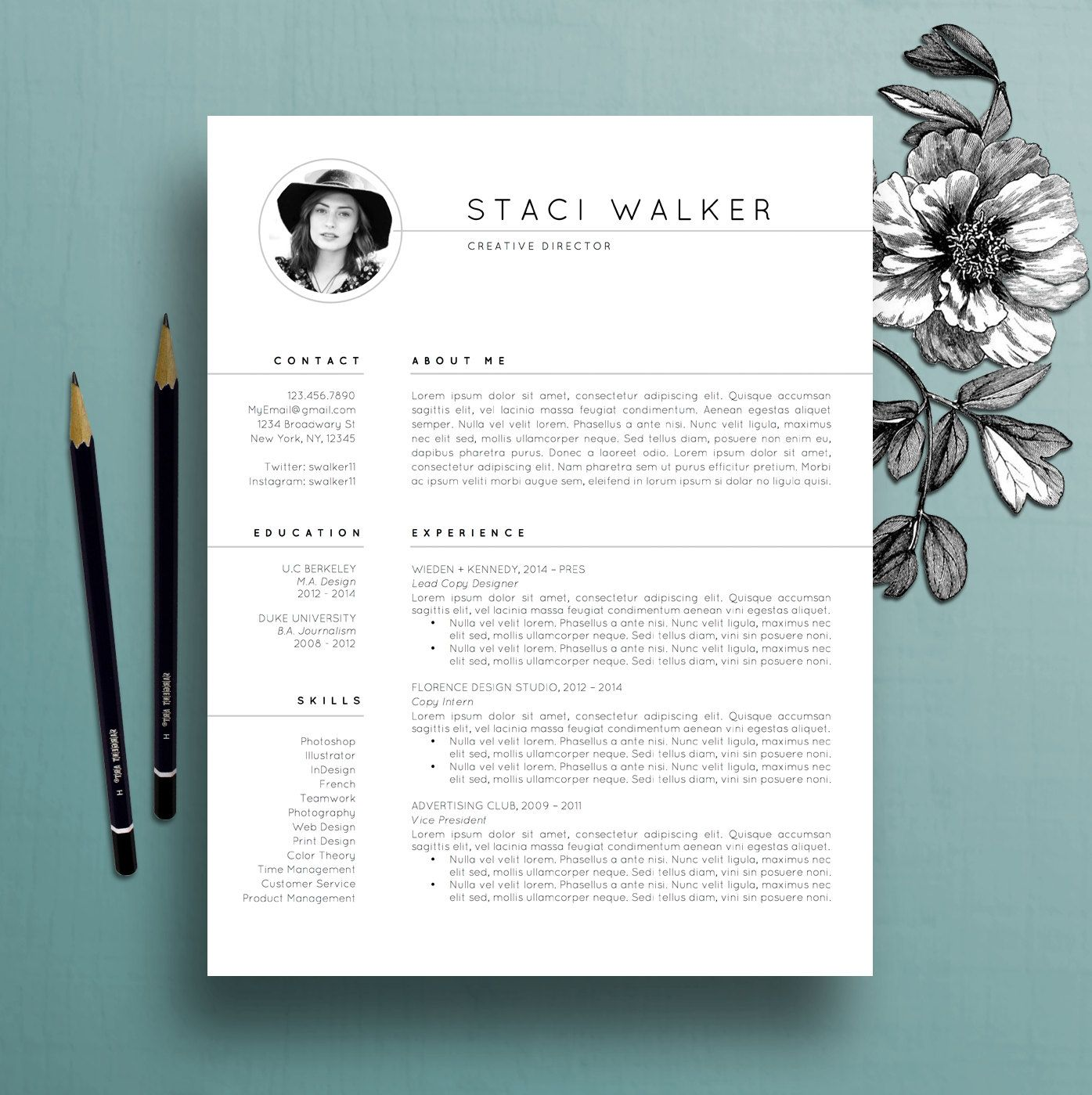Cv Templates Design%0A Modern Resume Template  pk CV Template by TheCreativeResume