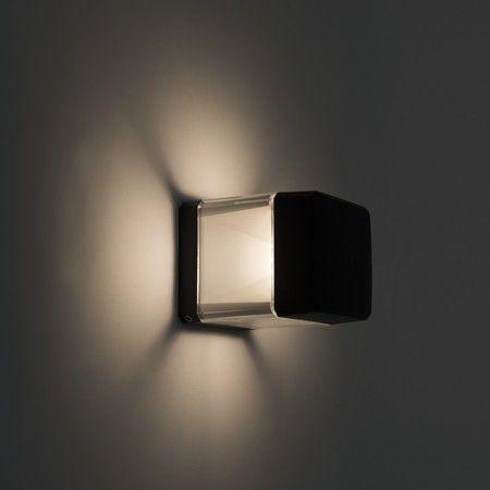 Moderne quadratische Außenwandlampe schwarz inkl. LED