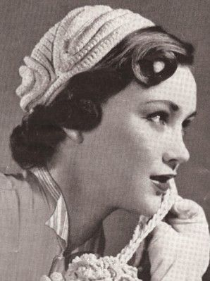 Vintage Crochet PATTERN to make 1940s Hat Turban Pillbox Cap Chenille TriColor