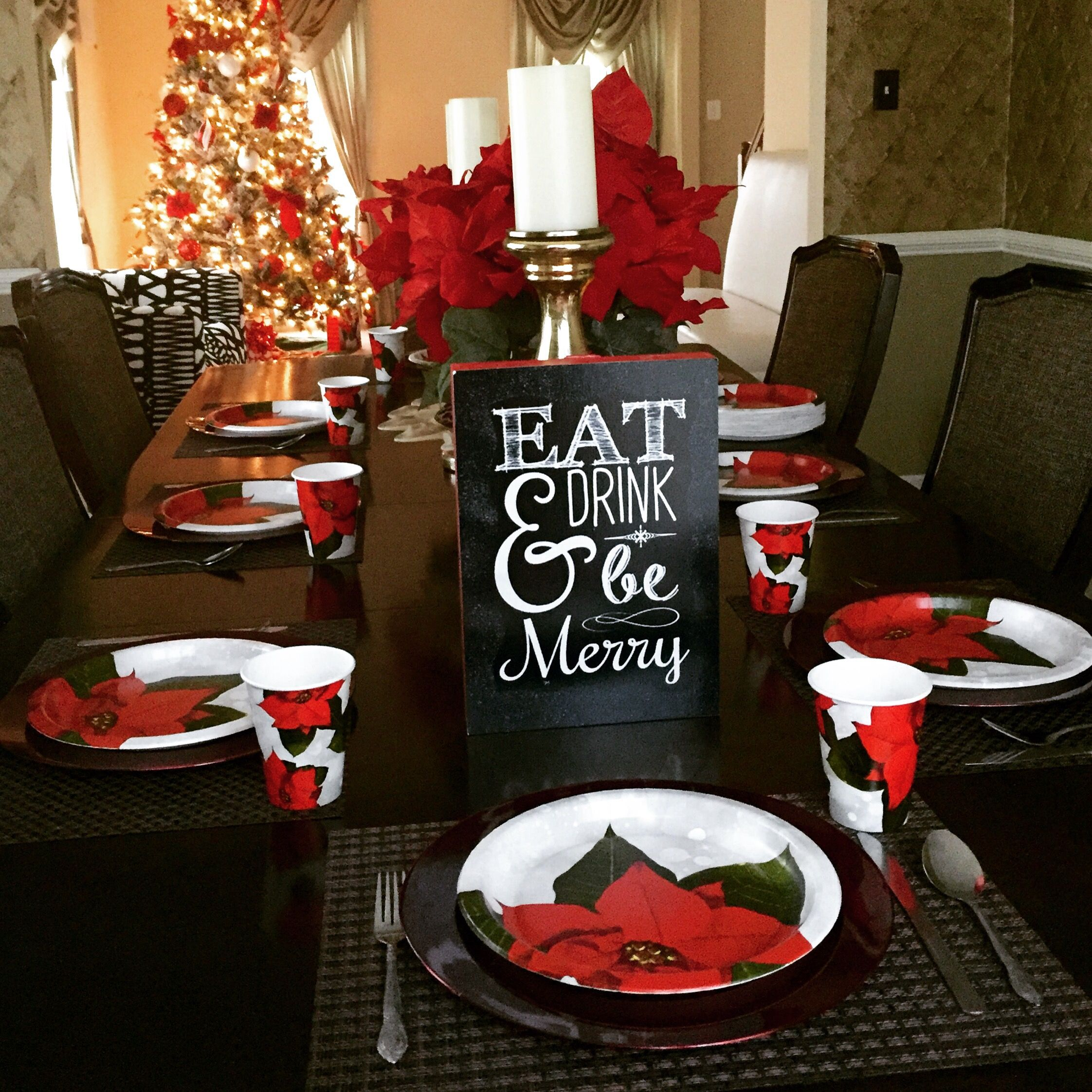 Budget Christmas Decorating Ideas: Budget Christmas Dinner Table Setting & Centerpieces