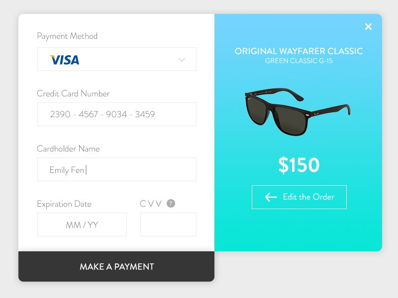 Credit Card Checkout Ui kit and User interface