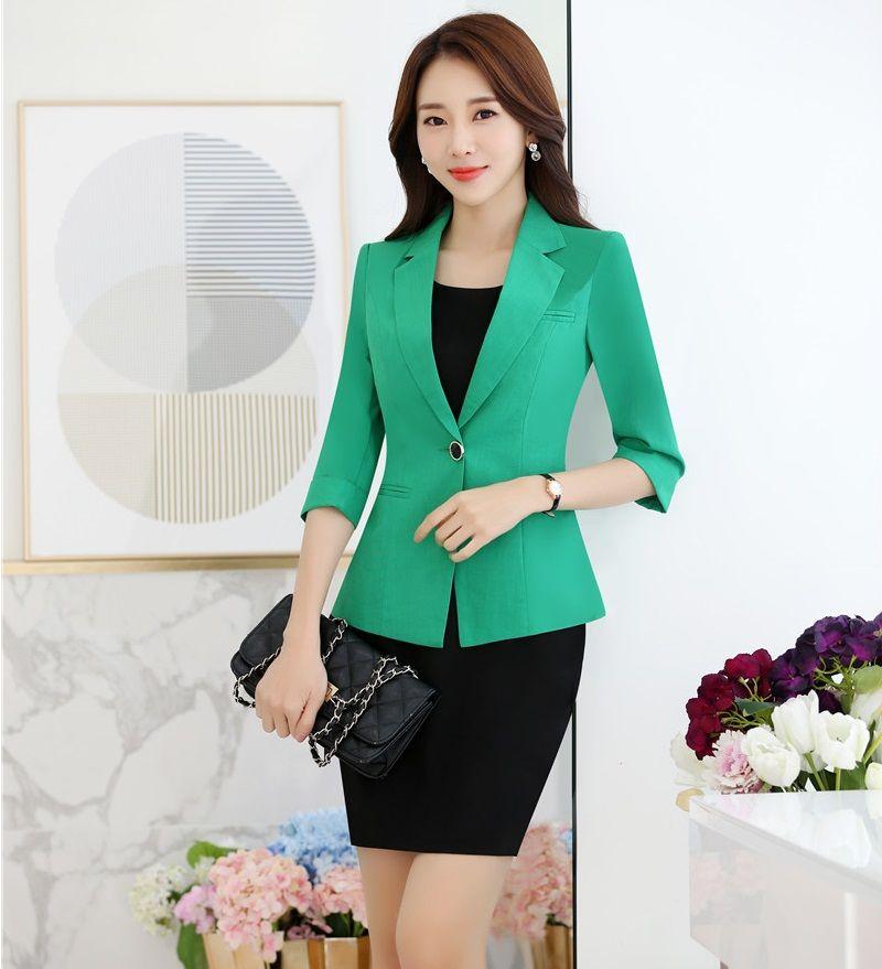 d2e43e0fea Formal Verde Chaqueta Blazer Mujeres Juegos de Falda Sets Señoras Elegantes  Trajes de Negocios Ropa de Trabajo Estilo Uniforme de la Oficina