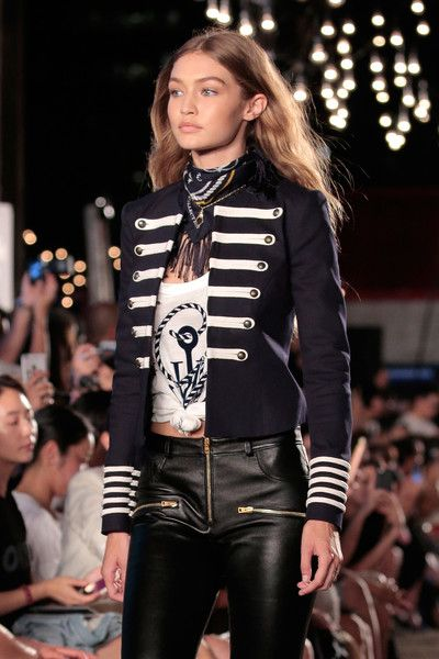 aa24dbb07dd5e Gigi Hadid Lookbook  Gigi Hadid wearing Tommy Hilfiger Military Jacket (2  of 10). Gigi Hadid was tough-glam in a navy and white military jacket while  ...