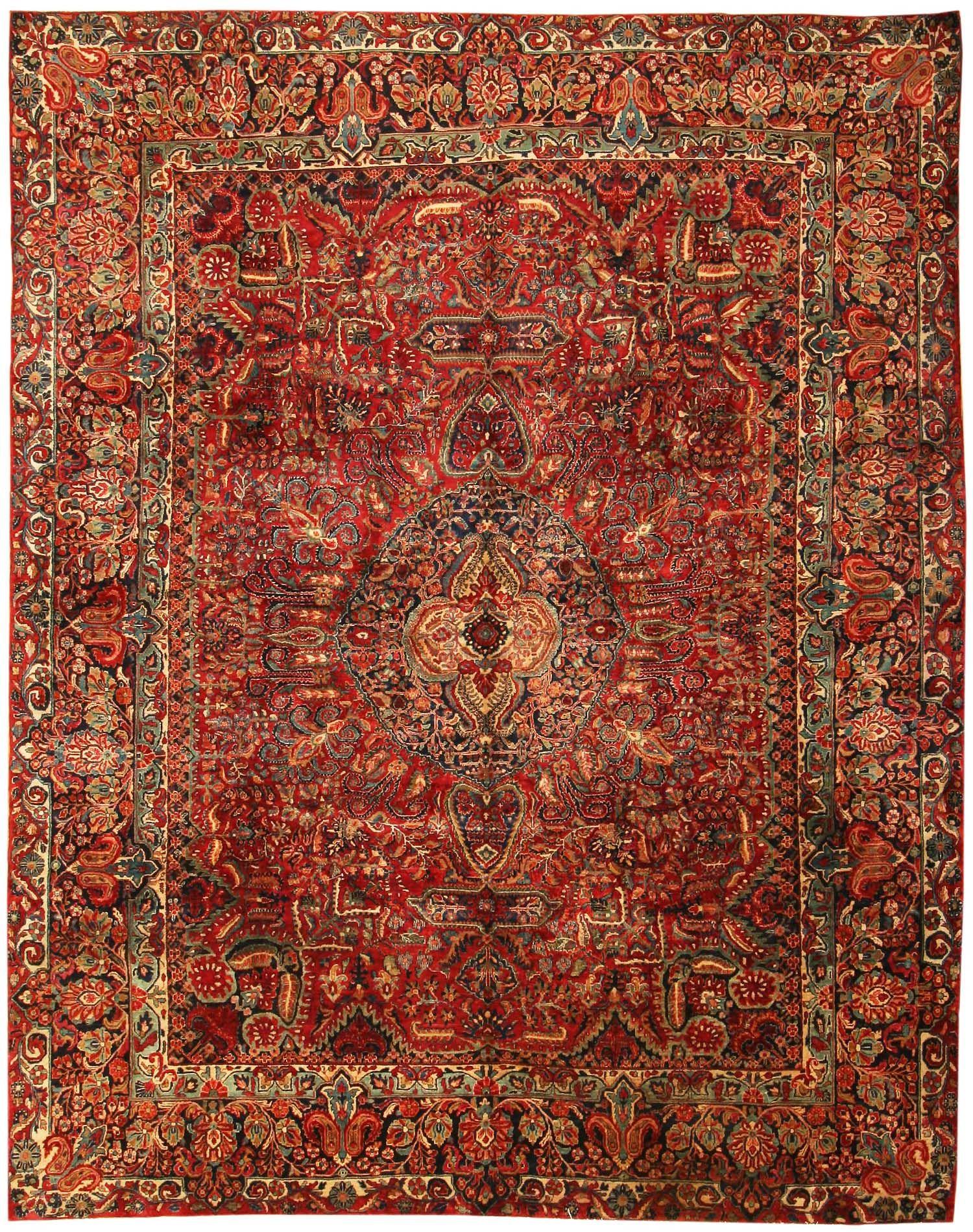 Good Antique Sarouk Persian Rug 43559   By Nazmiyal   For Den/study
