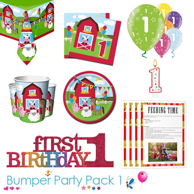 Farmhouse Fun Party Tableware Bumper Pack With Free First Birthday Table Decoration And 1st Birthday Parties Birthday Party Tableware Childrens Party Supplies