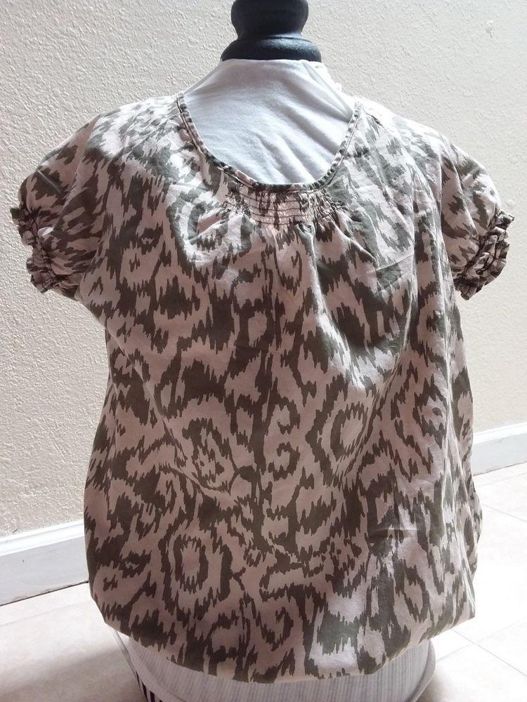 4e4c78424b28f John s Bay- Women blouse camouflage look 100% Cottonwaist elastic size  S