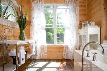 rustic modern | knotty pine walls, white paneling, knotty