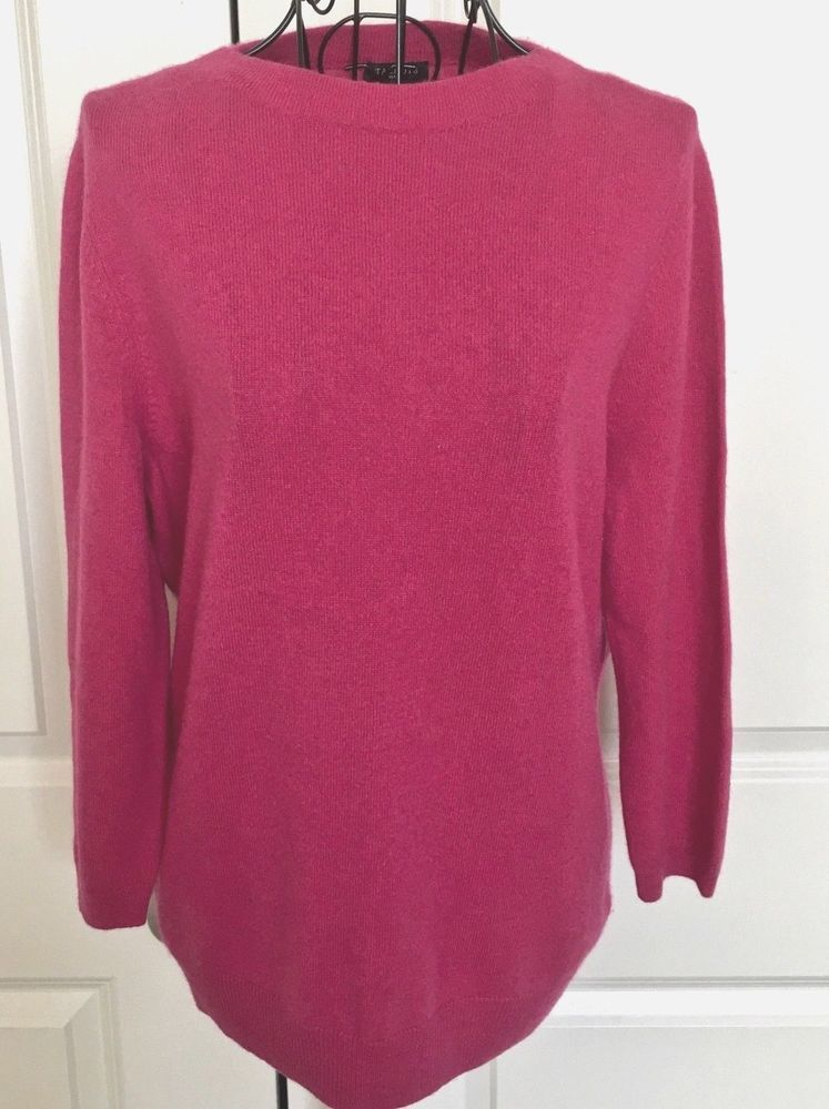 Talbots 100% Cashmere Sweater Top Pink Pullover 3 4 Sleeve Size Petite  Large  Talbots  PulloverSweater b67c5e640