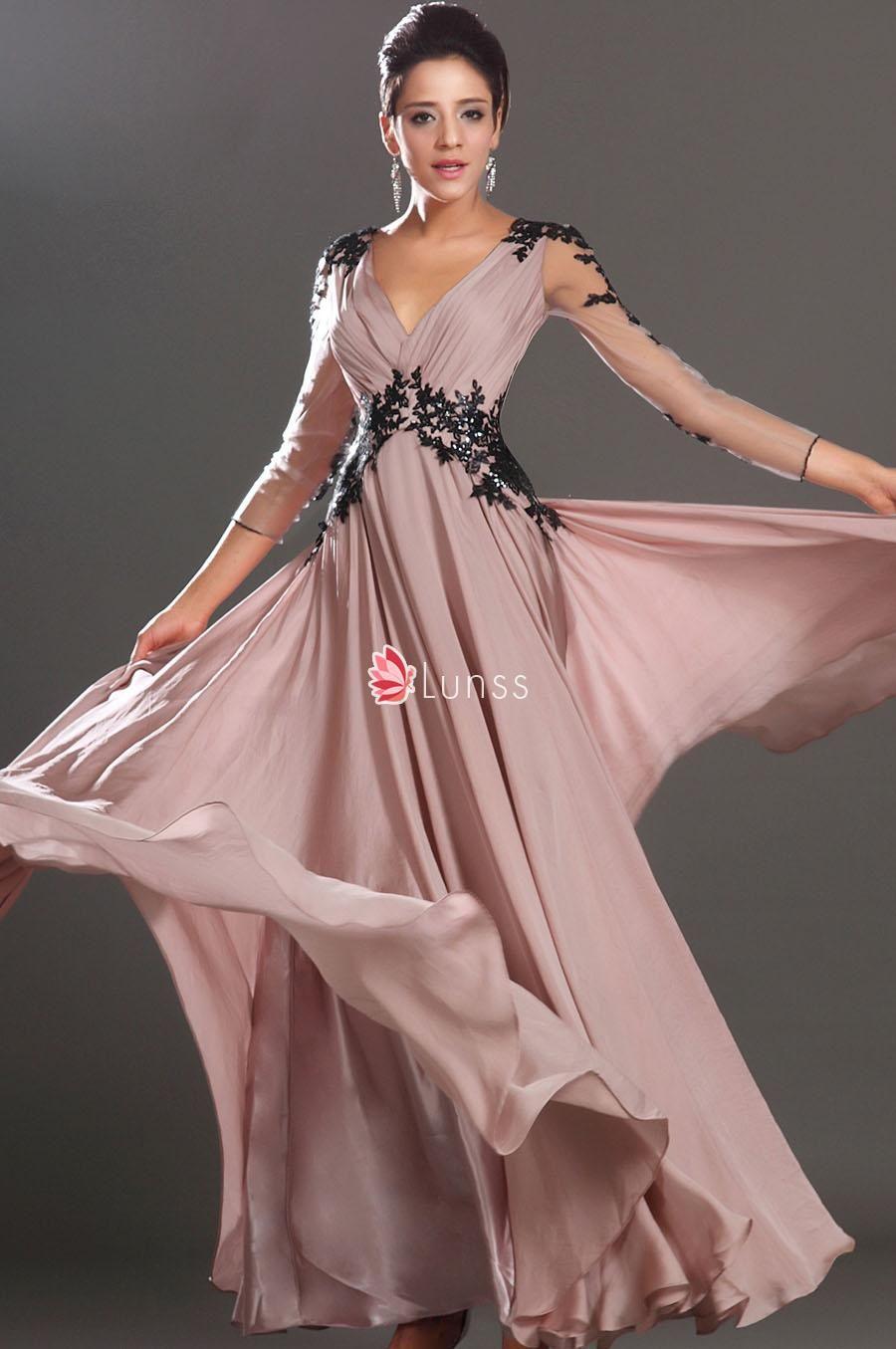 Black Lace Appliqued Sheer Long Sleeve Champagne Deep V Neckline ...