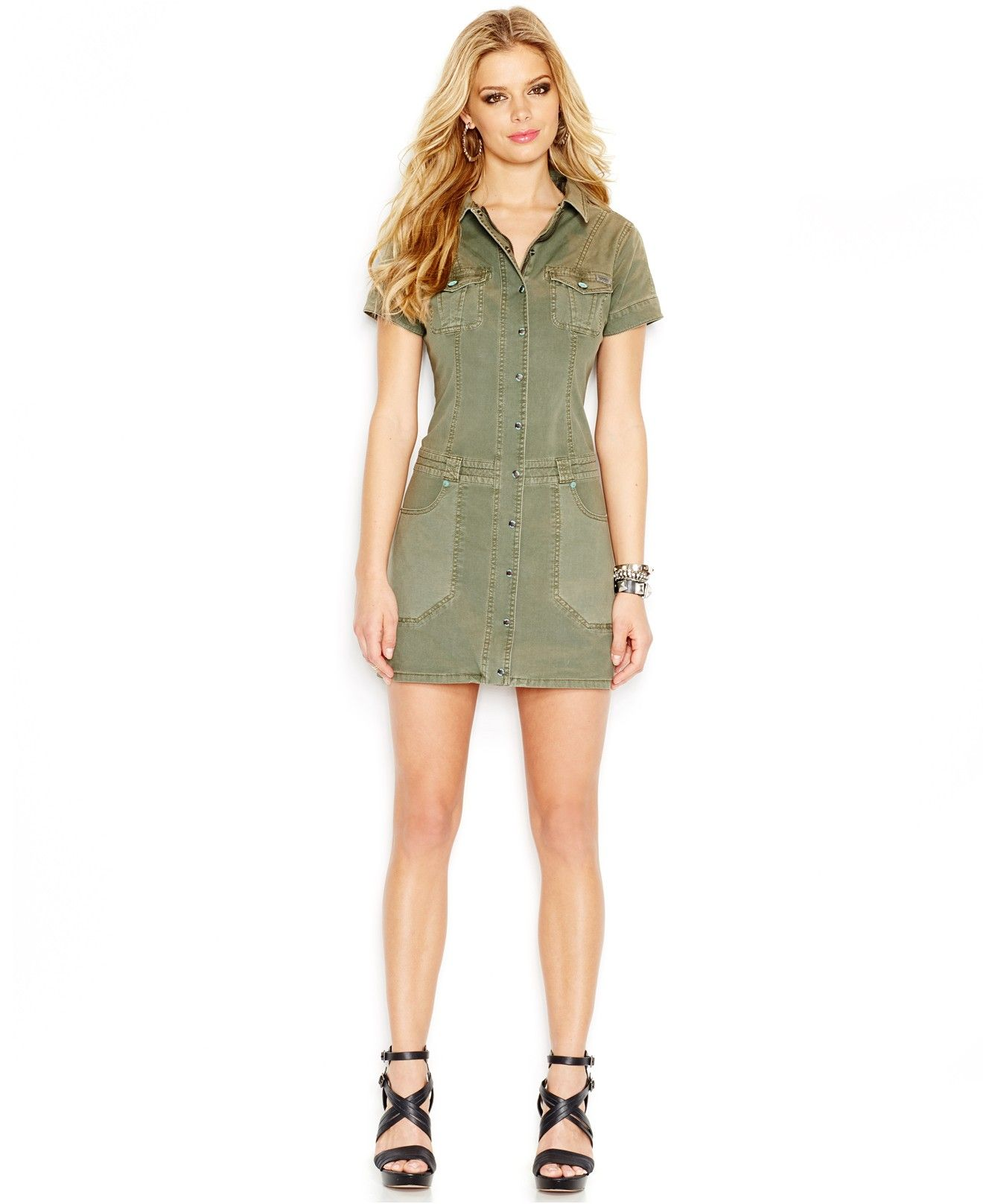 GUESS Point-Collar Cargo Dress - Juniors Dresses - Macy\'s | Form and ...