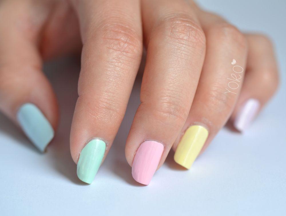 vernis ongles de couleurs pastel by yoko nail art pastel et paillettes pinterest