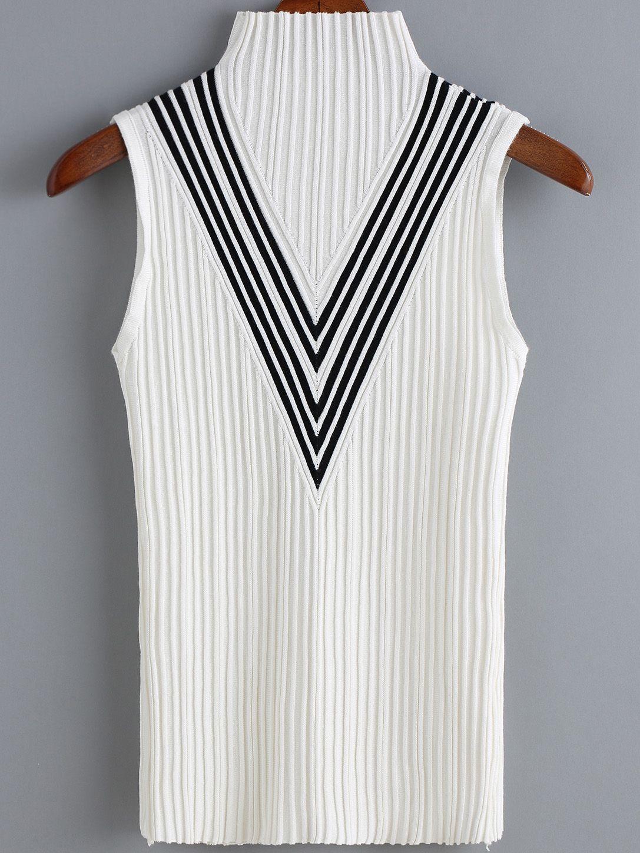 Suéter cuello alto rayas-(Sheinside) | Verano 2018 | Cuello alto ...