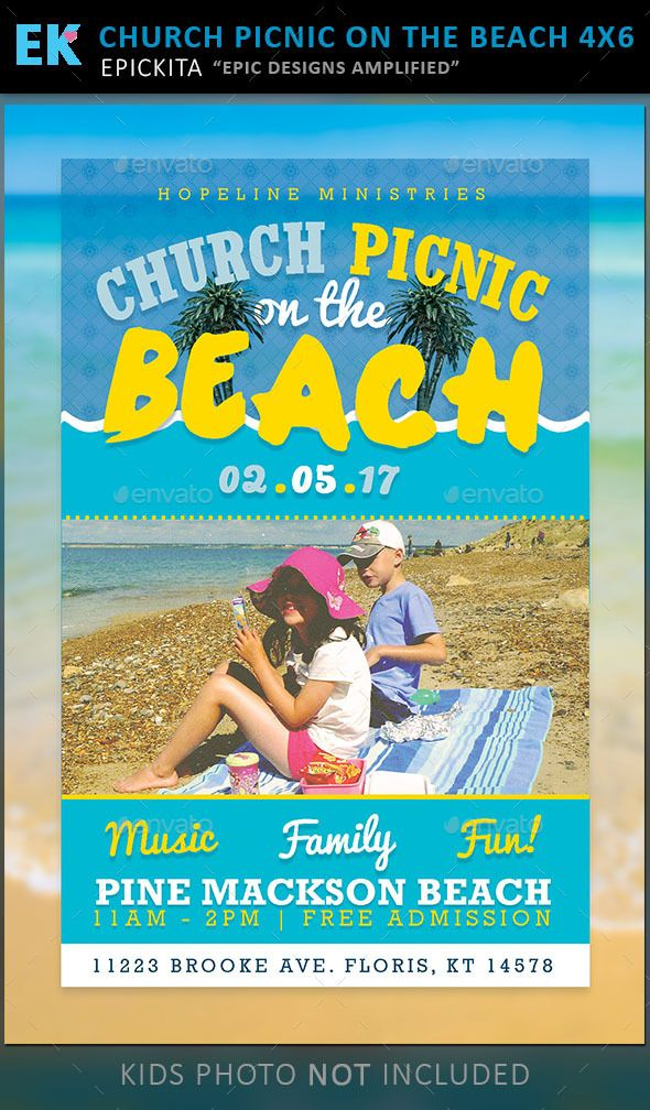 The Church Picnic on the Beach flyer is perfect if you need a fun, bright, and creative look. This file is exclusive to graphicriver.net