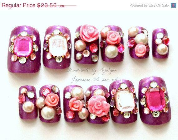 Summer Sale Gyaru Nail Art Decoden Hime 3d Purple Pink By Aya1gou