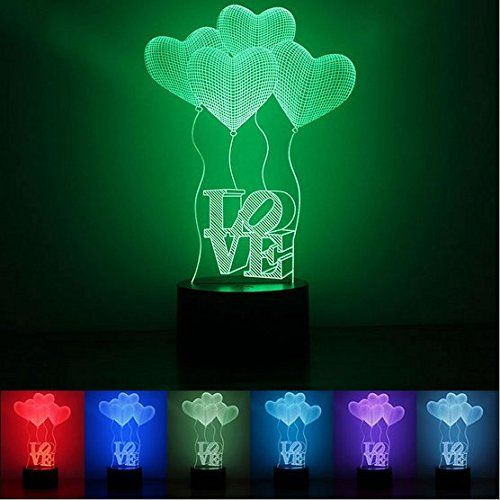 Jcare 3d Visual Four Love Heart Led Bulb Optical Illusion Colorful Led Table Lamp Touch Romantic Holiday Night Lig Light Table Night Lamps Holiday Family Gifts
