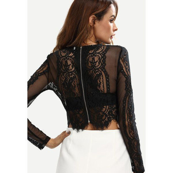 e1fb273255694 SheIn(sheinside) Black Lace See-through Crop Blouse ( 14) ❤ liked on  Polyvore featuring tops