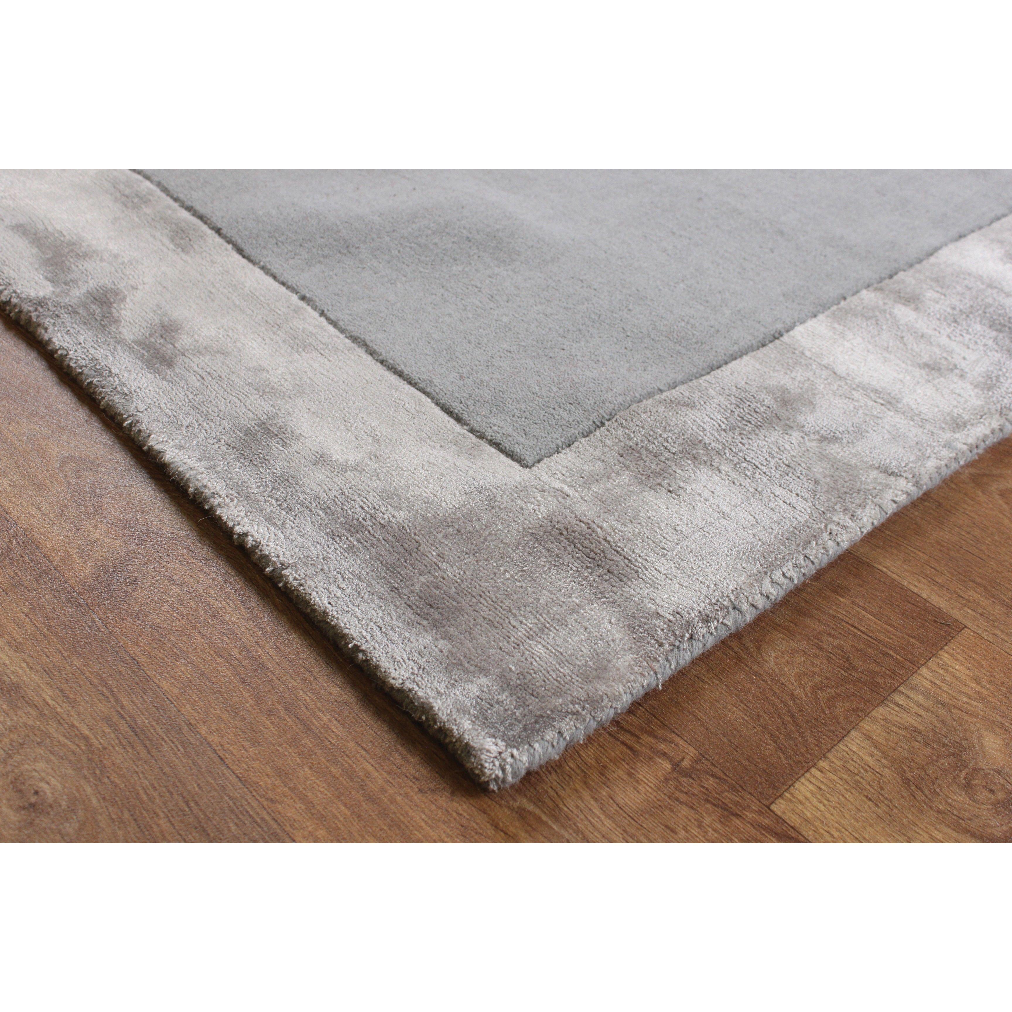 Ascot Silver Wool Viscose Plain Rug Taupe Rug Rugs Silver Grey Carpet