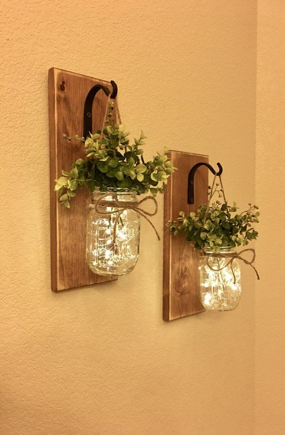 Photo of Rustic Mason Jar Sconce With Lights,Mason Jar Decor,Mason Jar Wall Decor,Distressed Wood Sconce,Lighted Mason Jar Sconce,Home Decor, Country
