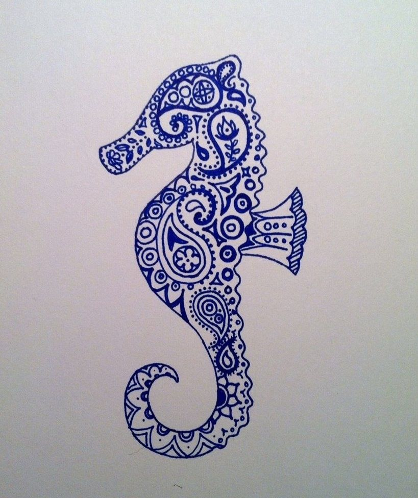 Pin de Nicole en Hippocampe | Pinterest | Caballo dibujo, Tatuajes y ...