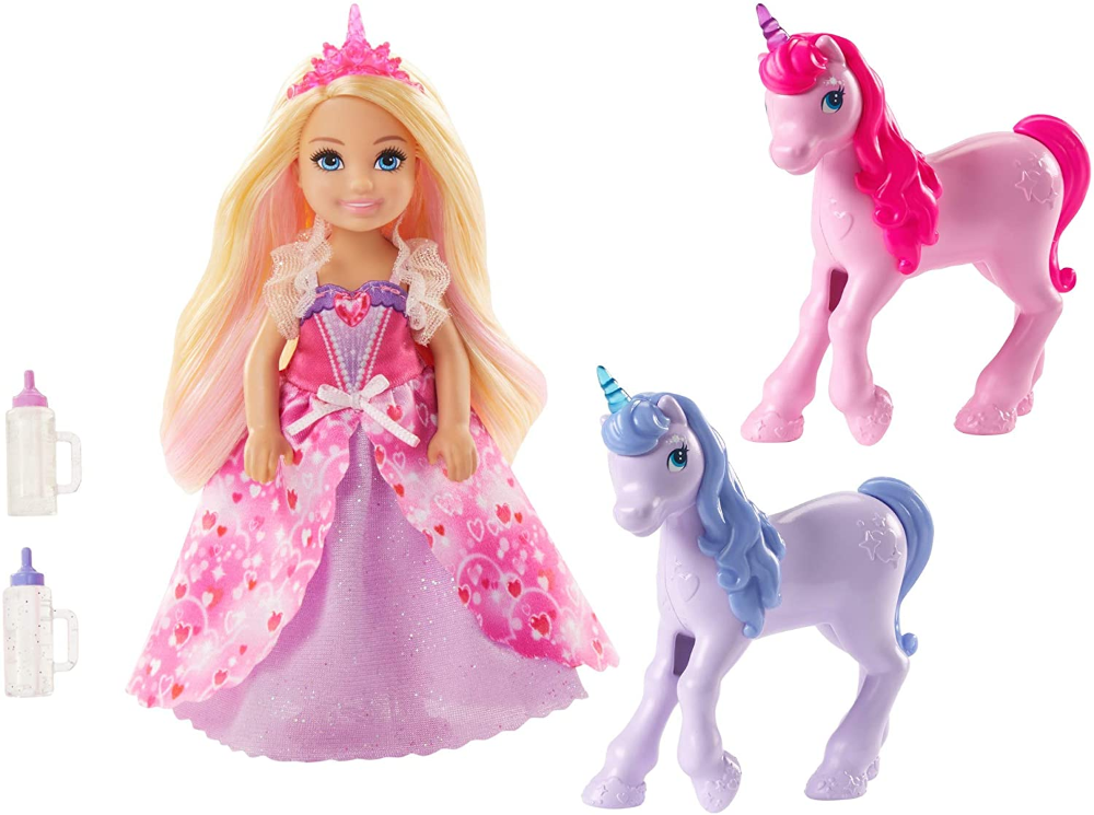 Amazonsmile Barbie Dreamtopia Gift Set With Chelsea Princess Doll In Heart Dress 2 Baby Unicorns And Accessories Gi Unicorn Barbie Chelsea Doll Baby Unicorn