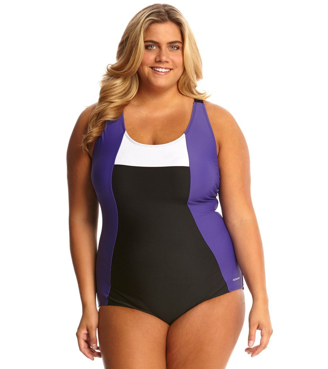 66315f60f9d Sporti Plus Size Moderate Colorblock One Piece Swimsuit at SwimOutlet.com -  Free Shipping
