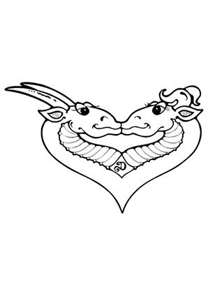 ausmalbild verliebte drachen zum kostenlosen ausdrucken