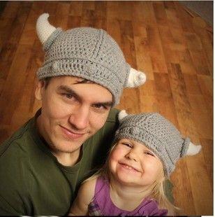 Hand knitting baby modeling baby knitted hat infant cap -B255 Viking horns $9.10