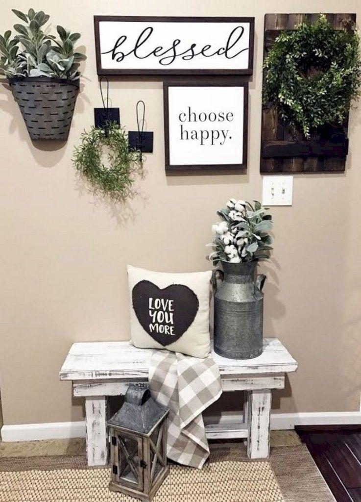 40 Farmhouse Shelving And Wall Decor Ideas Living Room Decor