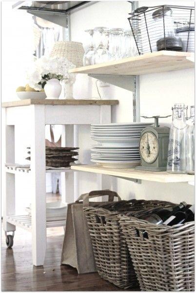 decoracion en blanco para organizar la cocina