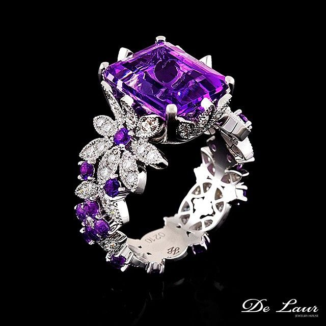 a5223e76d Fine ring with Amethyst and Diamonds from De Laur Jewelry | Rhapsody ...