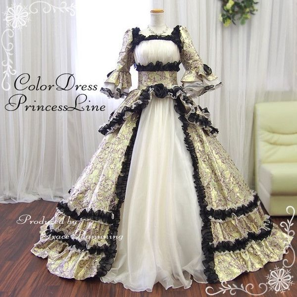 7f7d1d735ade5 カラードレス ロングドレス 姫系 舞台衣装 イベント中世貴族風 プリンセス オペラ 声楽 演劇 ゴールド×ホワイト Mサイズ…