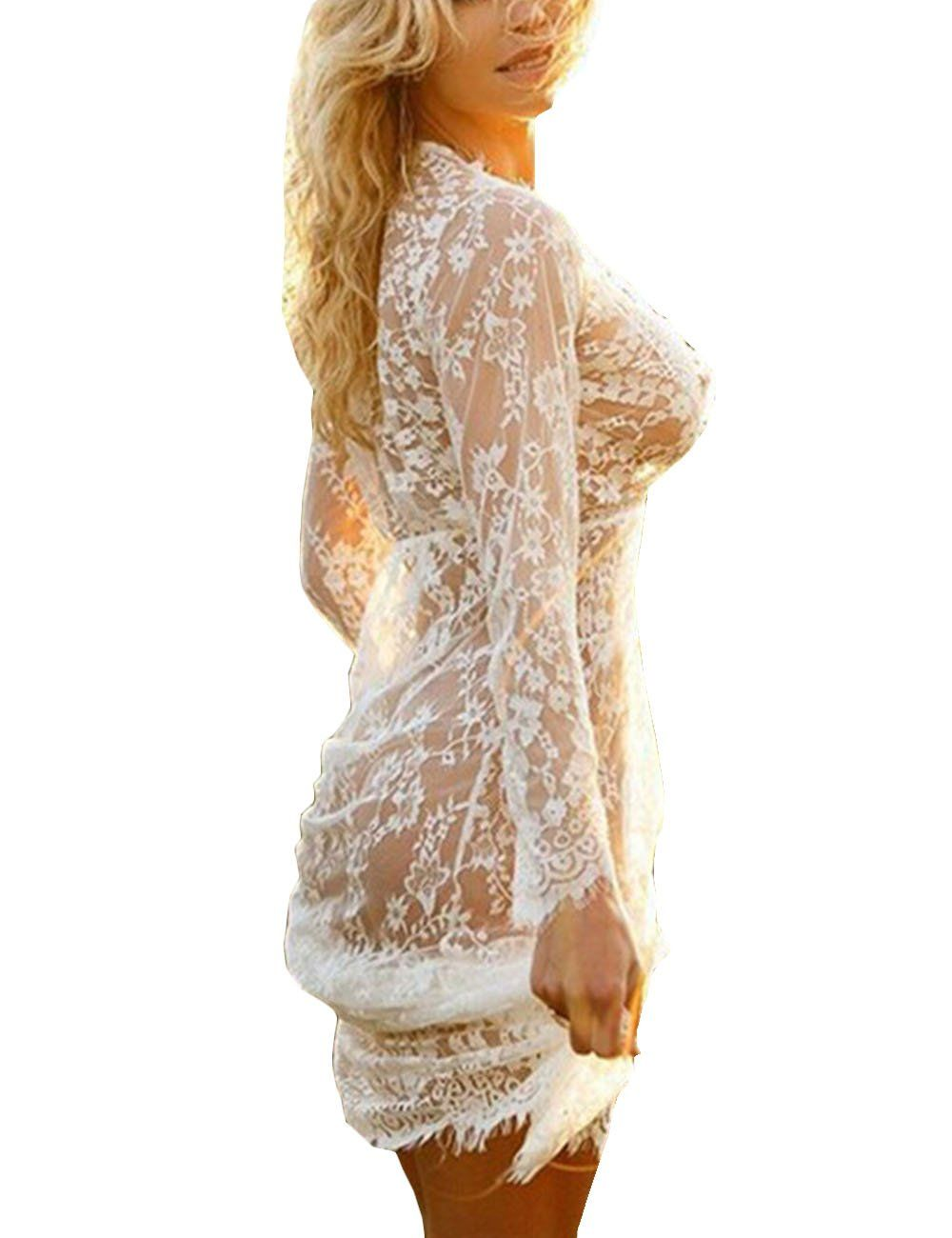 Lace v neck maxi dress  Gogoboi Sexy Women Deep V Neck Long Sleeve Lace Mesh Beach Cover Up