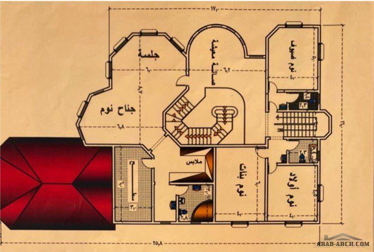 مخطط فيلا بسيطة نمط سعودي تصميم بسيط و منظم Arab Arch House Structure Design New House Plans House Front Design