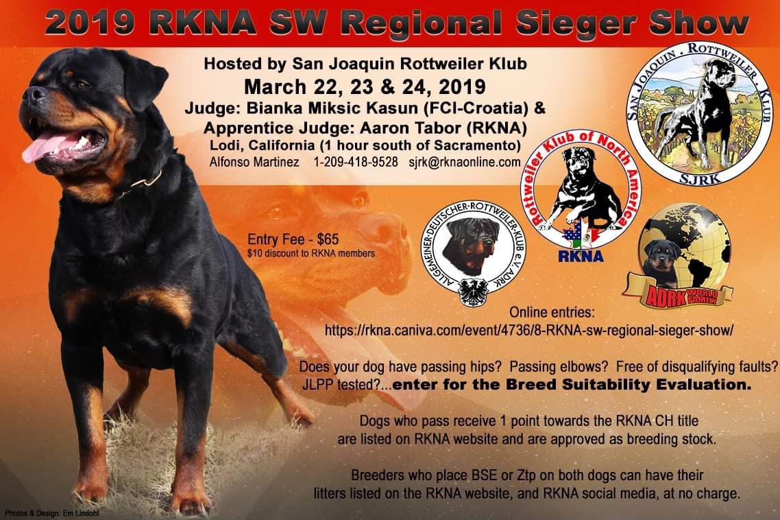 March 22 24 2019 Rottweiler San Joaquin North America