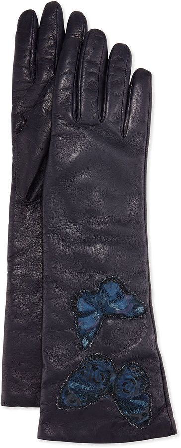 Valentino Napa Leather Butterfly Embroidered Gloves a970592cfe