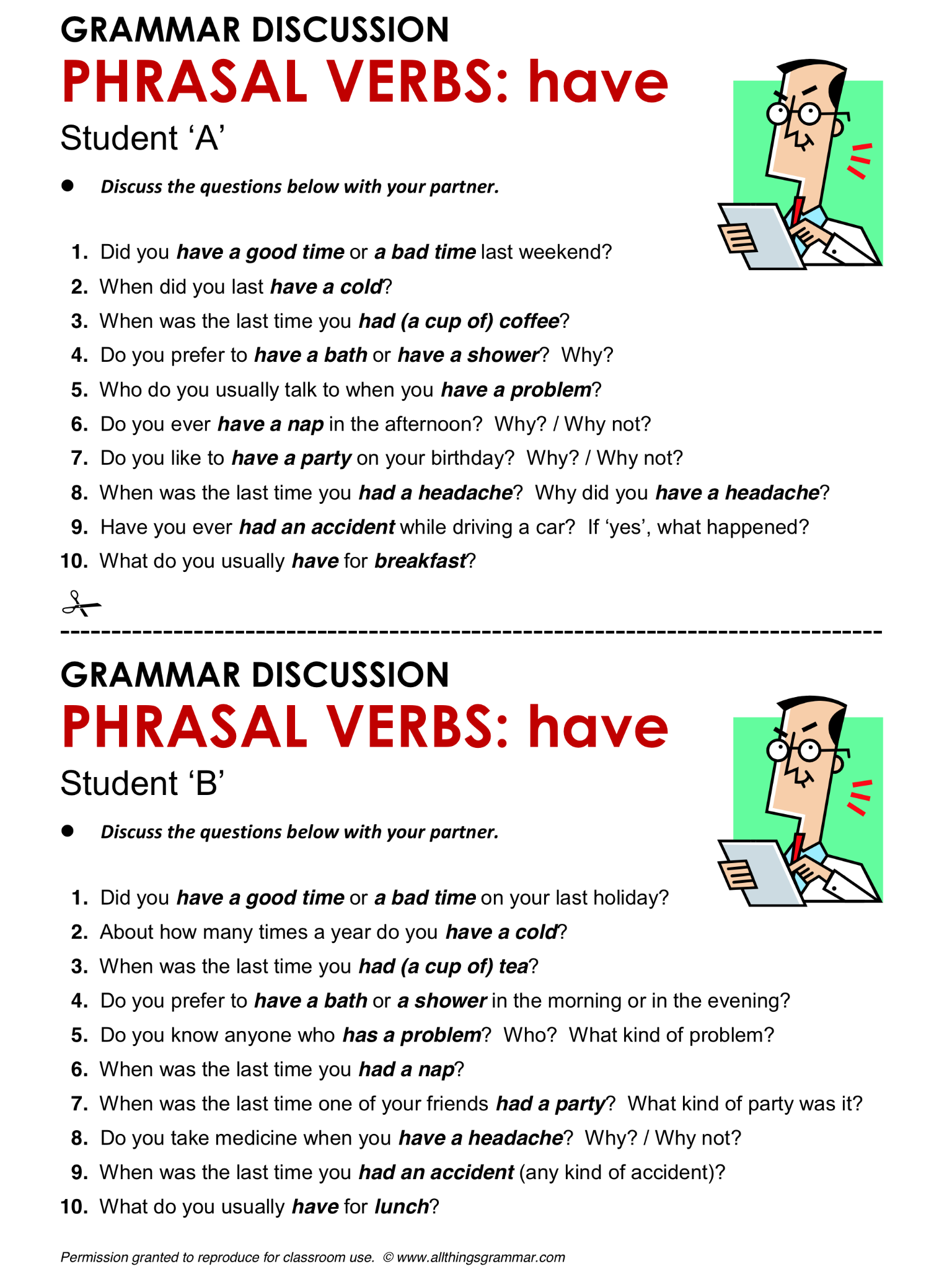 English Grammar Phrasal Verbs With Have