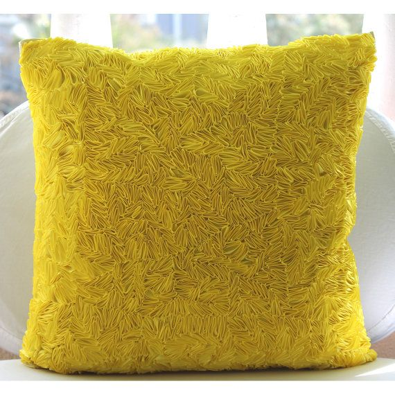 White Leather Sofa Euro Sham Throw Pillow Cover Accent Pillow Couch Pillow Sofa x Inch Yellow Silk Pillow Cover