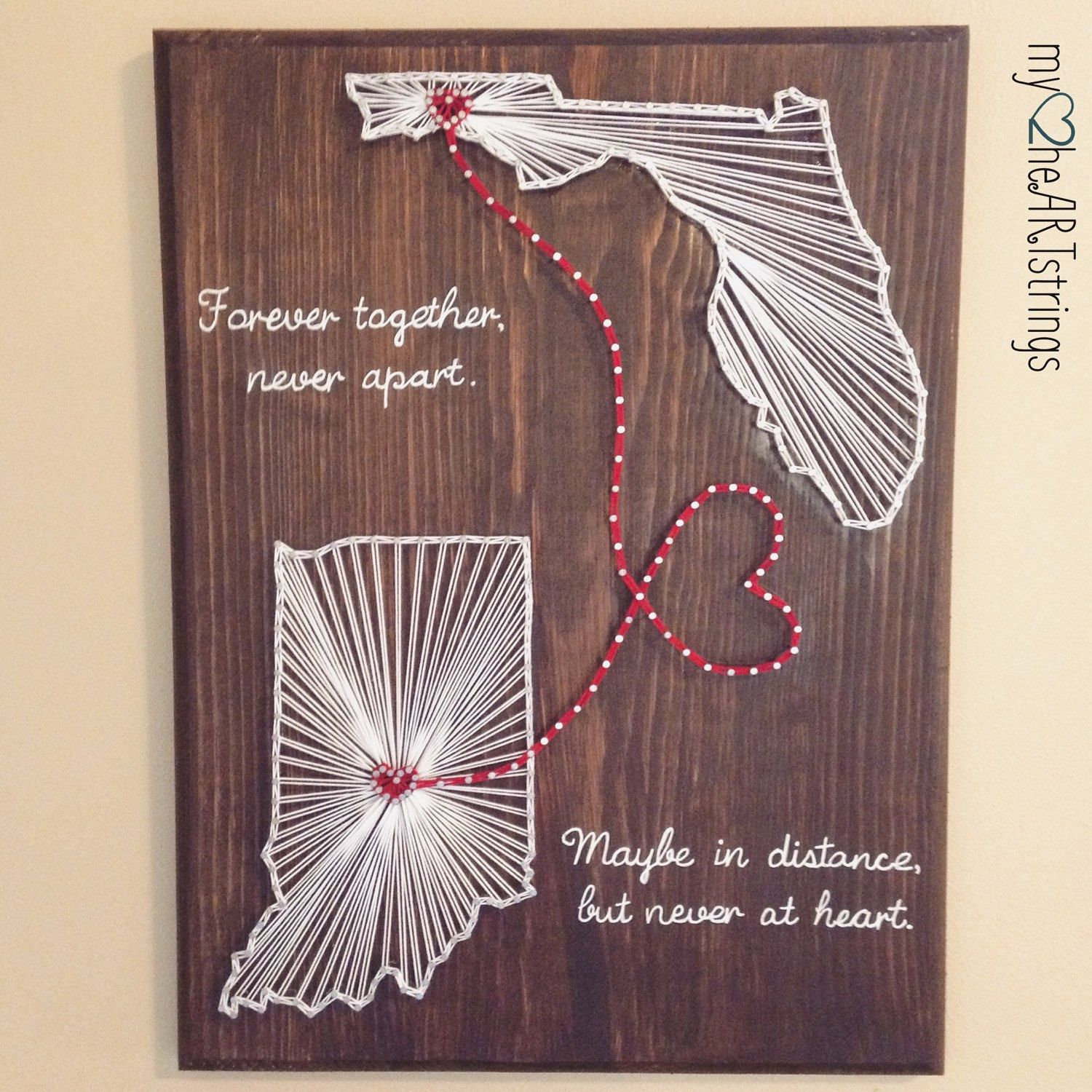 Two state two hearts string art board by my2heartstrings on etsy